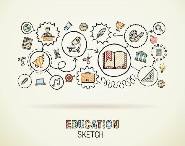 De onderwijshand trekt geïntegreerde pictogrammen die op papier worden geplaatst. kleurrijke schets infographic cirkel illustratie. verbonden doodle pictogrammen, sociale, e-learning, leren, media, kennis interactieve concepten Premium Vector