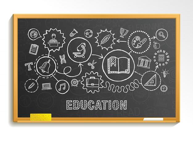 De onderwijshand trekt geïntegreerde pictogrammen die op schoolraad worden geplaatst. schets infographic cirkel illustratie. verbonden doodle pictogrammen, sociale, e-learning, leren, media, kennis interactieve concepten Premium Vector