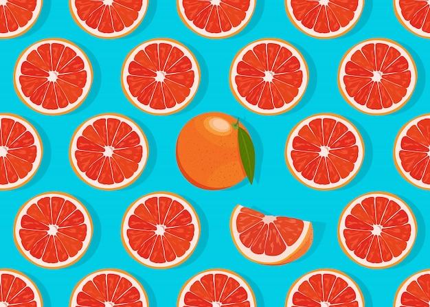De oranje vruchten snijden naadloos patroon Premium Vector