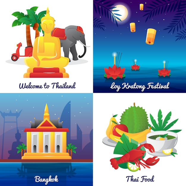 De oriëntatiepuntenvoedsel van thailand en nationale symbolen en festivalpictogrammen vierkante affiche Gratis Vector