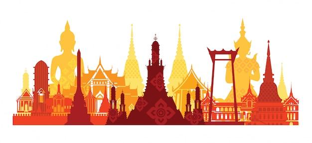 De oriëntatiepunthorizon van thailand, reisaantrekkelijkheid, traditionele cultuur Premium Vector