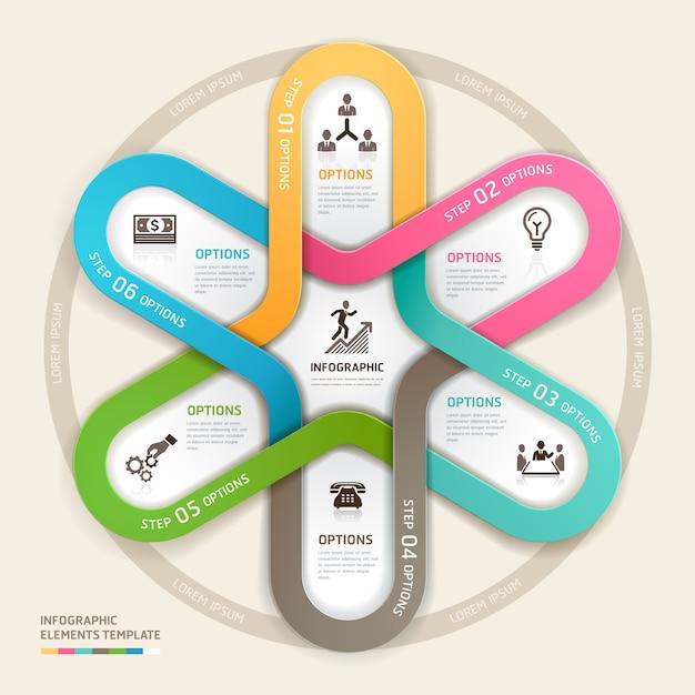 De origamistijl van zakenkringsinfographics. Premium Vector