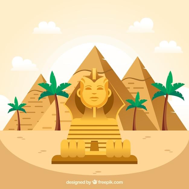 De oude samenstelling van egypte met vlak ontwerp Gratis Vector
