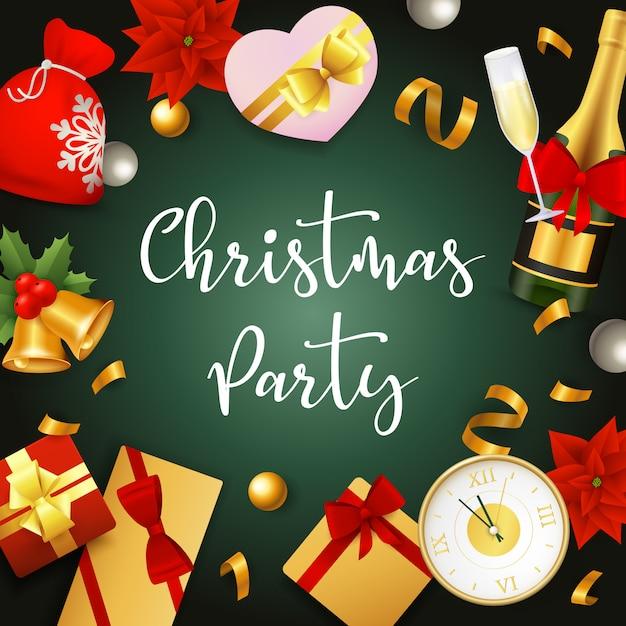 De partijbanner van kerstmis met stelt en linten op groene grond voor Gratis Vector