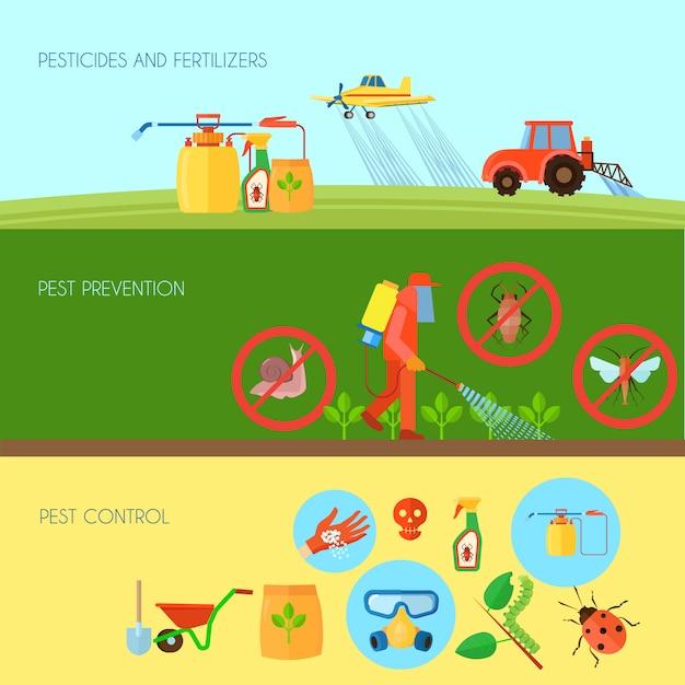 De pesticiden en de meststoffen horizontale die achtergrond met ongediertebestrijdingssymbolen wordt geplaatst platten vlak vectorillustratie Gratis Vector