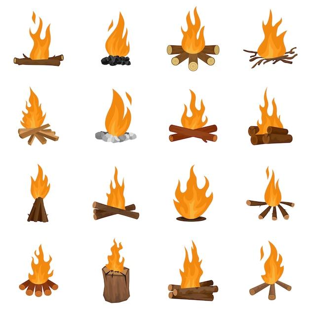 De pictogrammen van de de nachtbrand van het vuur geplaatst geïsoleerde vector Premium Vector