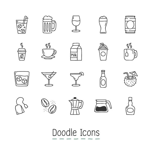 De pictogrammen van de drank van de doodle. Gratis Vector
