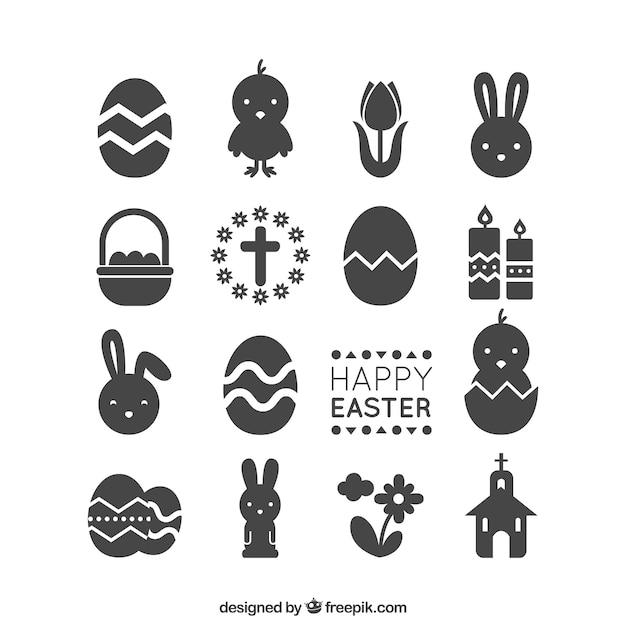 De pictogrammen van pasen Gratis Vector