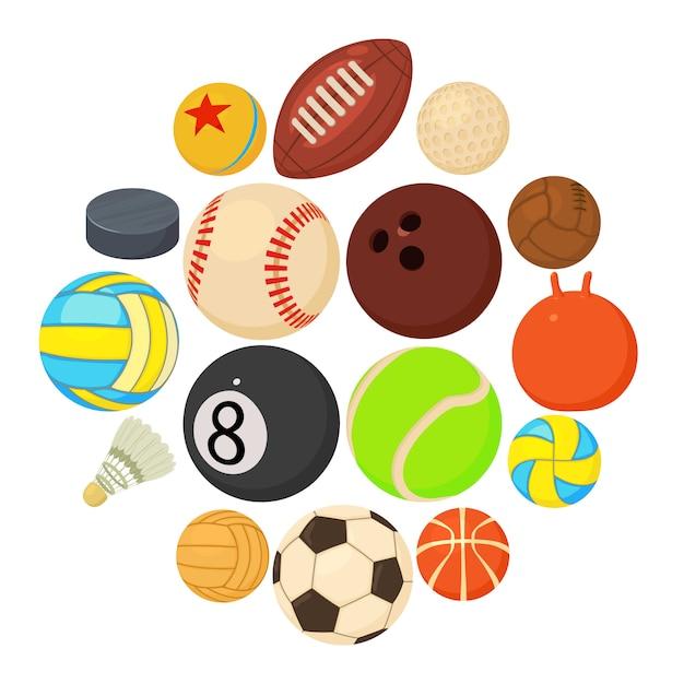 De pictogrammen van sportballen geplaatst spelsoorten, beeldverhaalstijl Premium Vector