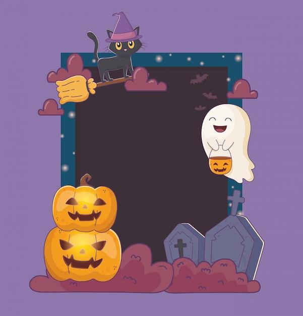 De pompoenen en het grafzerkframe halloween van de kat Premium Vector