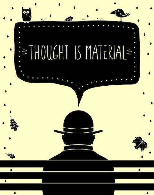 De poster gedachte is materieel. kunstafdruk. silhouet van de mens denken Premium Vector