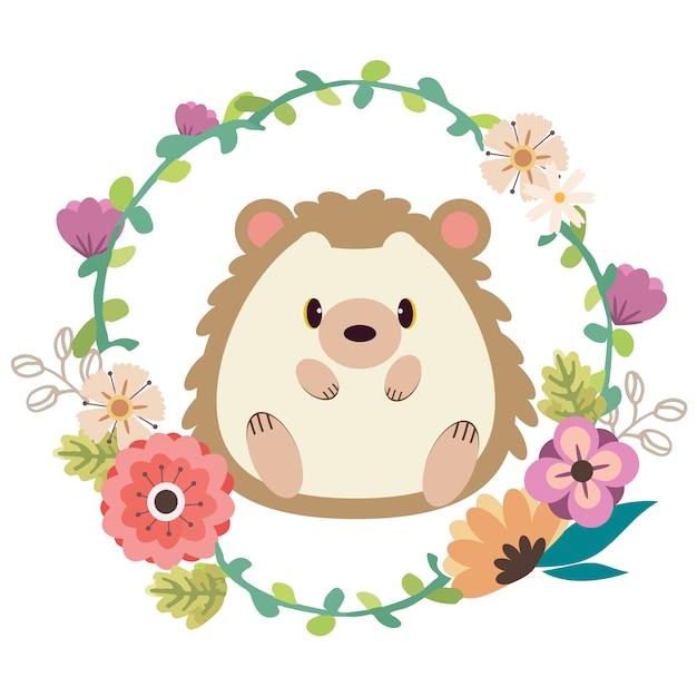 De poster voor het karakter van een schattige egel die in het midden van de bloemenring zit. Premium Vector