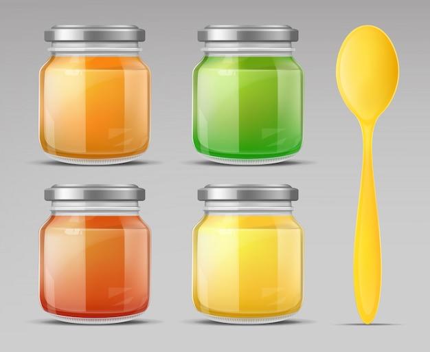 De pot van het babyvoedsel met de gesloten fles van het lepelglas puree Gratis Vector