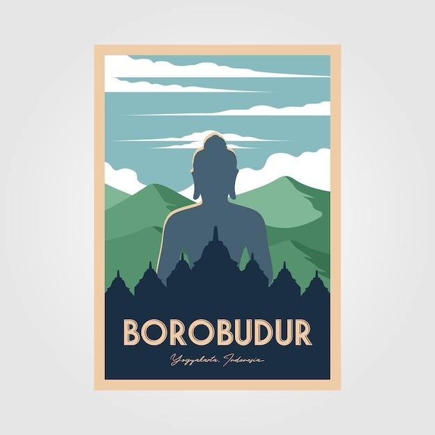 De prachtige vintage poster van de borobudur-tempel Premium Vector
