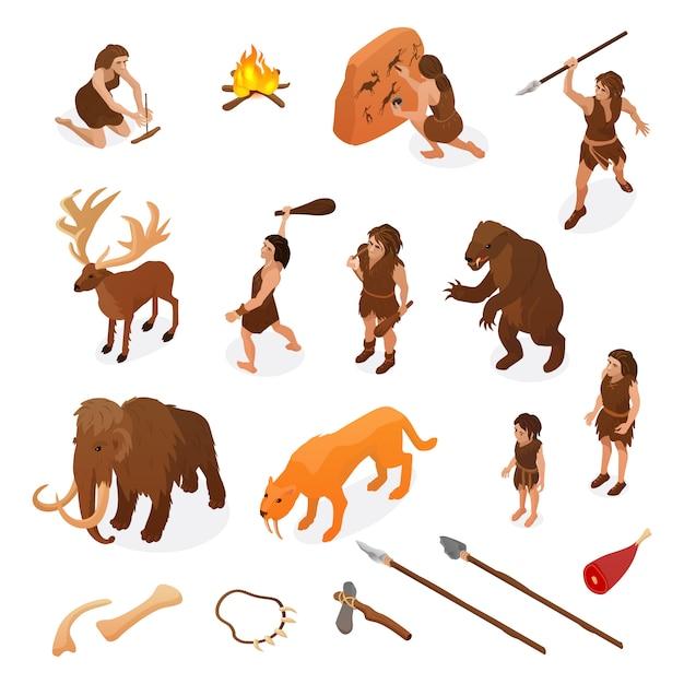 De primitieve isometrische reeks van het mensenleven met jachtwapens die brandrots het schilderen dinosaurus mammoet geïsoleerde illustratie beginnen Gratis Vector