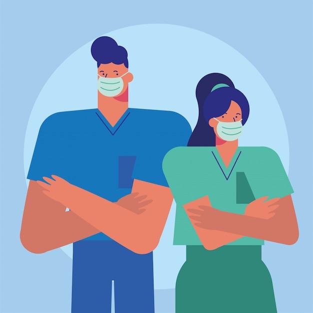 De professionele artsen koppelen het dragen van medische maskers Premium Vector