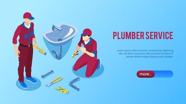 De professionele online horizontale isometrische banner van de loodgieterdienst met twee herstellers die de vectorillustratie van de badkamersgootsteen bevestigen Gratis Vector