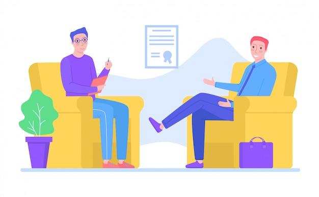 De psycholoog van het mensenkarakter steunt mannelijk probleem, helpt de psychotherapie mensen op wit, illustratie. professioneel geestherstel. Premium Vector