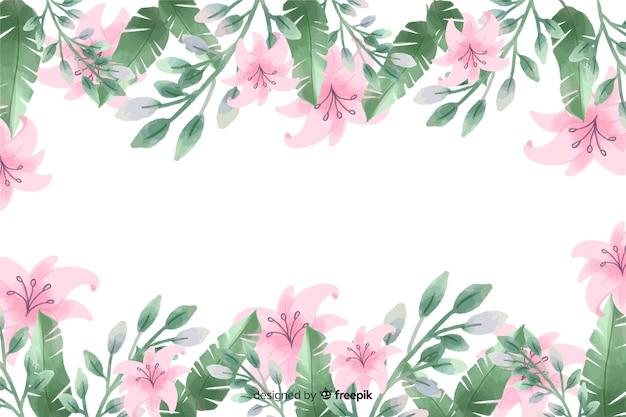 De purpere lelie bloeit kaderachtergrond met waterverfontwerp Gratis Vector