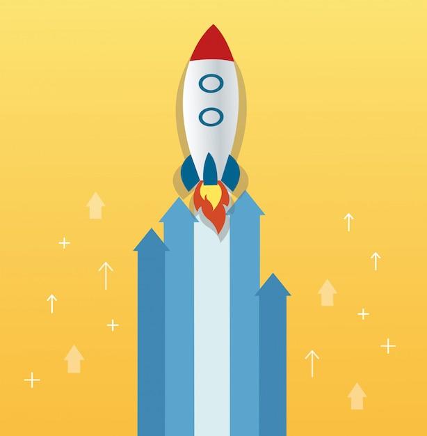 De raket op pijlpictogram Premium Vector