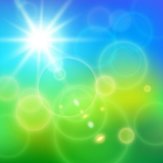 De realistische lens flakkert zonnige stralen op blauwe hemel en groen gras in de vectorillustratie van de de zomerdag Gratis Vector