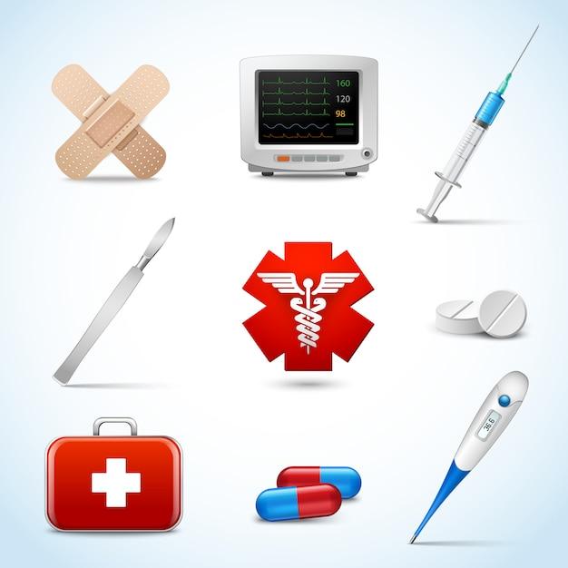 De realistische medische die elementen van hulpdiensten met plaat van het capsule de pleister scalpel geïsoleerde vectorillustratie worden geplaatst. Gratis Vector