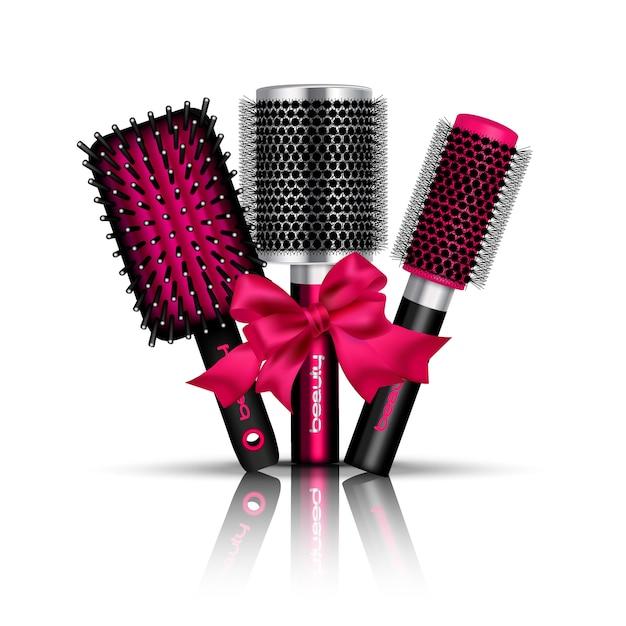 De realistische samenstelling van de haarborstel met drie haarborstels voor het stileren gebonden een rode lint vectorillustratie Gratis Vector