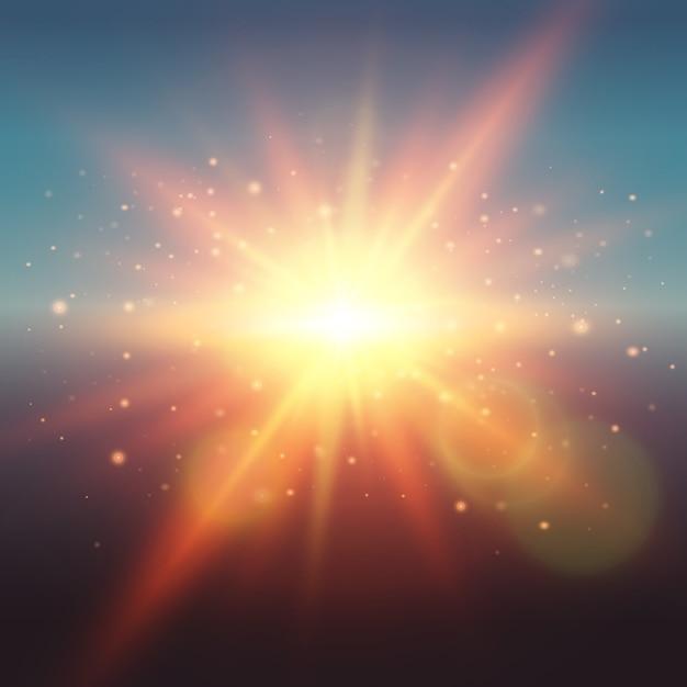 De realistische zonneschijn van de gloedlente bij zonsopgang of zonsondergang met lens flakkert stralen en deeltjes vectorillustratie Gratis Vector