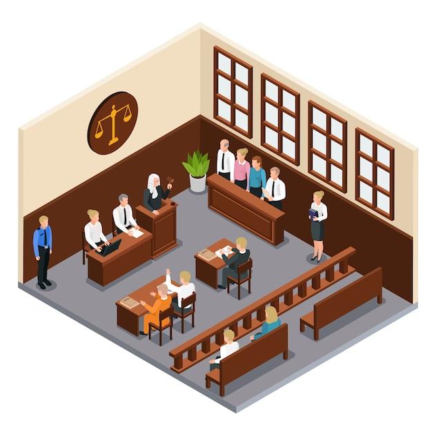 De rechtbank isometrische samenstelling van het wetrechtvaardigheid met illustratie van de de rechterofficier van de rechtszaal de binnenlandse verweerder advocaat Gratis Vector