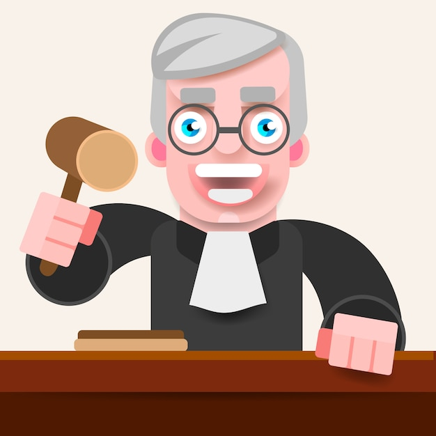 De rechter houdt de hamer vast om te oordelen. Premium Vector