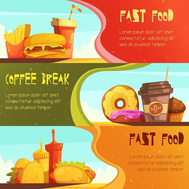 De reclame horizontale die banners van het snel voedselrestaurant met de maaltijdaanbieding van de koffiepauze worden geplaatst Gratis Vector