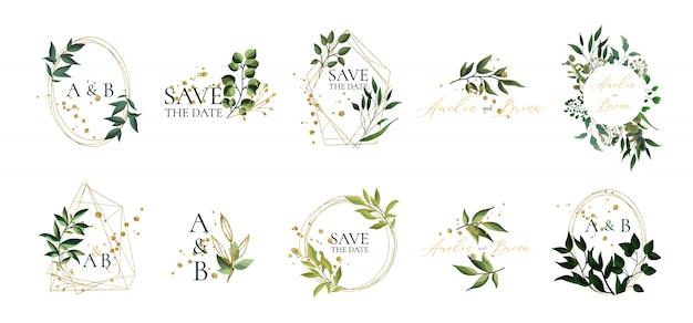 De reeks bloemenhuwelijksemblemen en het monogram met elegant groen bladeren gouden geometrisch driehoekig kader voor uitnodiging bewaren het ontwerp van de datumkaart. botanische vectorillustratie Gratis Vector