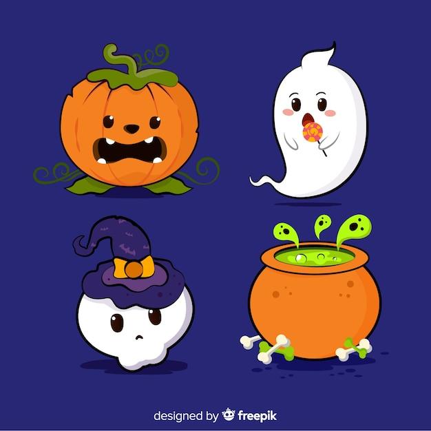 De reeks elementen van halloween overhandigt getrokken stijl Gratis Vector