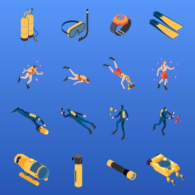 De reeks isometrische pictogrammen menselijke karakters met vrij duikenmateriaal isoleerde vectorillustratie Gratis Vector