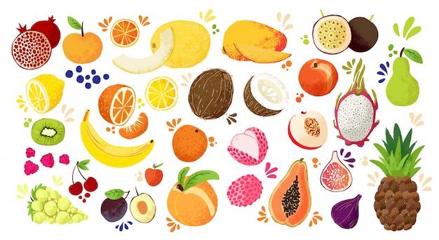 De reeks kleurrijke hand trekt vruchten - tropische zoete vruchten, en citrusvruchtenillustratie. appel, peer, sinaasappel, banaan, papaja, drakenfruit en andere. Premium Vector