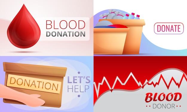 De reeks van de bloeddonatiesillustratie, beeldverhaalstijl Premium Vector