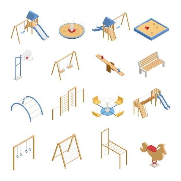 De reeks van de kinderenspeelplaats isometrische pictogrammen met schommeling, dia's, basketbalhoepel, zandbak, geïsoleerde klimrekken Gratis Vector