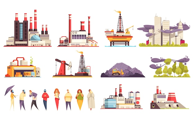 De reeks van het industriële gebouwenbeeldverhaal fabriekenoliecentrales olie offshore platform geïsoleerde illustratie Gratis Vector