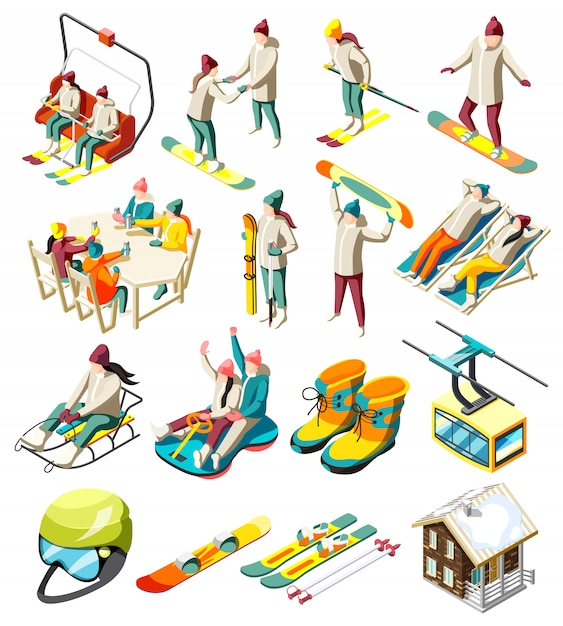 De reeks van skiresortelementen isometrische pictogrammen met skiërs en snowboarders met geïsoleerde sportuitrusting Gratis Vector