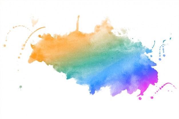 De regenboog kleurt de textuur van de achtergrond waterverfvlek ontwerp Gratis Vector