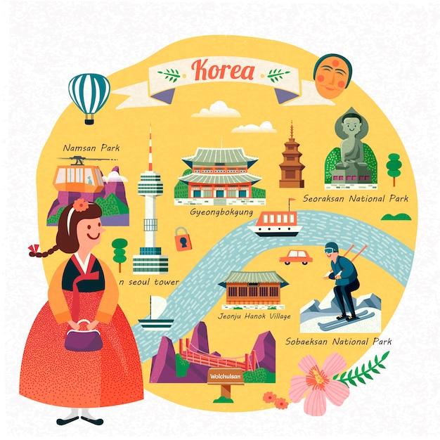 De reisillustratie van korea, mooi meisje dat hanbok draagt en beroemde oriëntatiepunten in korea ziet, Premium Vector