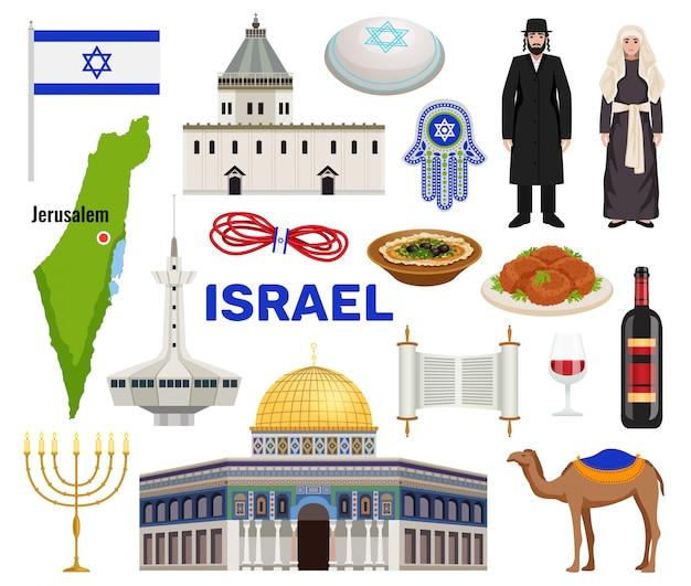 De reispictogrammen van israël met cultuur en keukensymbolen worden geplaatst isoleerden vlak illustratie die Gratis Vector