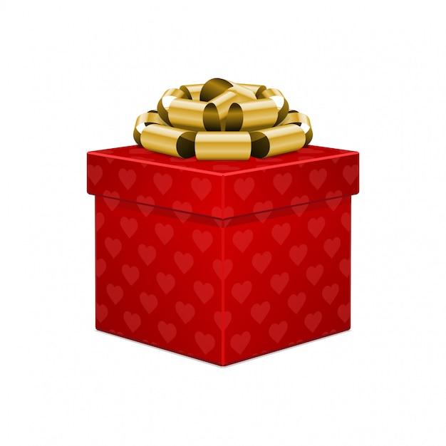 De rode doos van de hartgift met gouden boog die op witte vectorillustratie wordt geïsoleerd als achtergrond Premium Vector