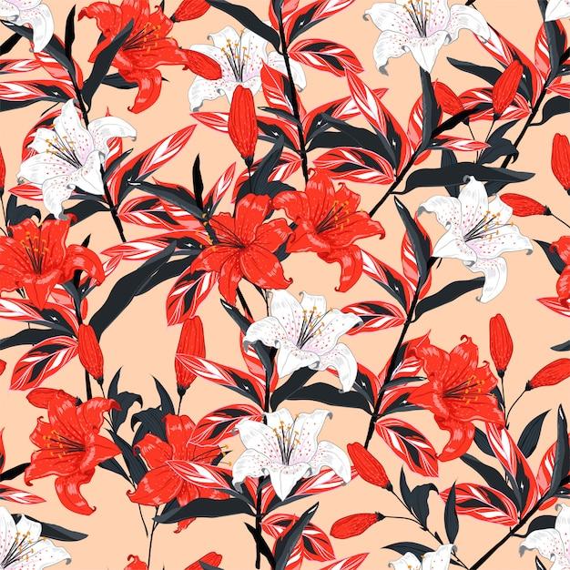 De rode en witte lelie bloeit naadloos patroon vectorontwerp Premium Vector