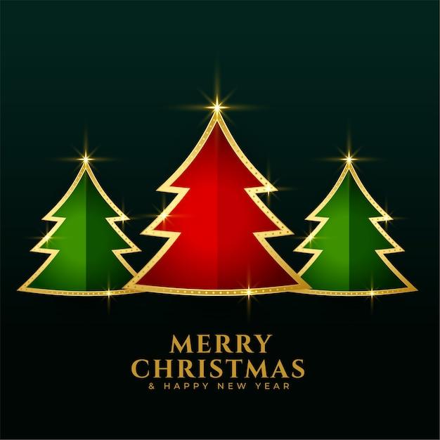 De rode groene achtergrond van kerstmis gouden bomen Gratis Vector