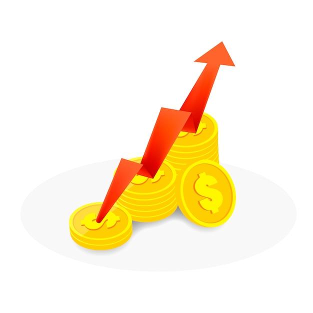 De rode pijl gaat omhoog op de munten op wit en onder de schaduw Premium Vector
