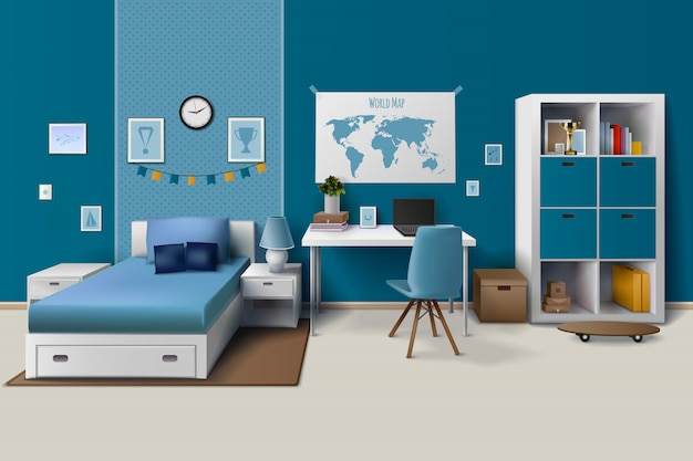 De ruimte binnenlands ontwerp van de tienerjongen met in werkruimte voor thuiswerkkast Gratis Vector