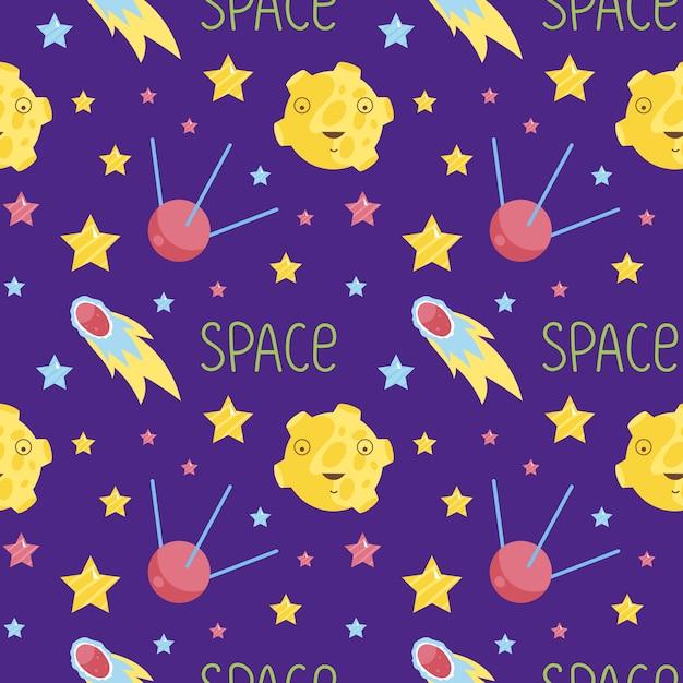 De ruimte cartoon naadloze patroon Premium Vector