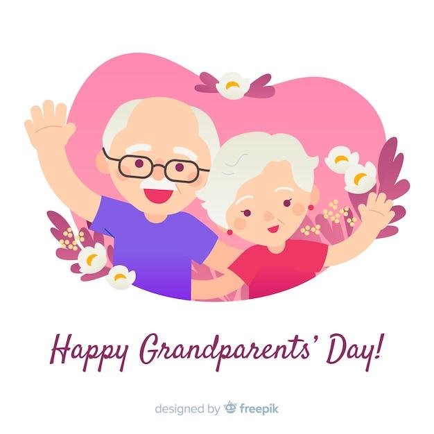 De samenstelling van de grootouders met platte ontwerp Gratis Vector
