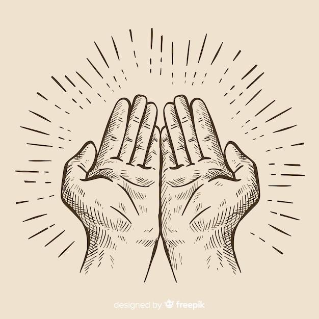 De samenstelling van de handen met de hand getekende stijl Gratis Vector